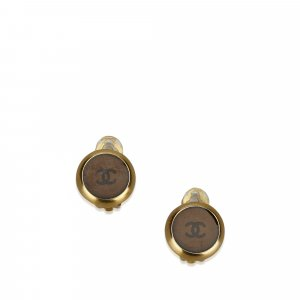 Chanel Boucle d'oreille brun métal