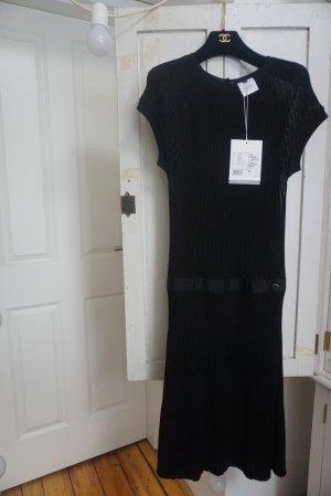 Chanel Vestido de cóctel negro-color plata