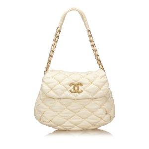 Chanel Schoudertas wit Katoen