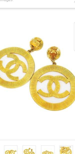Chanel Pendientes tipo aro amarillo neón