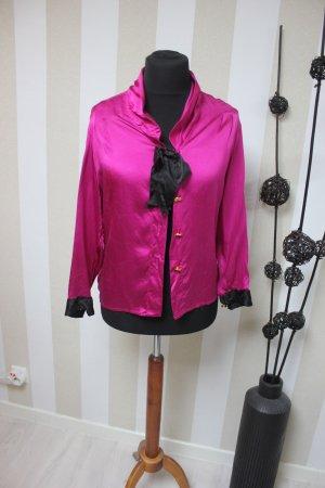 CHANEL Designer Vintage Bluse Seide mit Schleife & CC Knöpfen