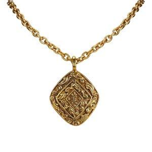 Chanel Diamond Shape Pendant Gold-Tone Necklace