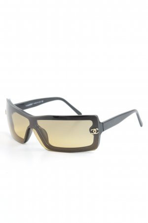 Chanel eckige Sonnenbrille schwarz-beige schlichter Stil