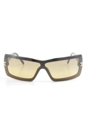 Chanel Hoekige zonnebril zwart-beige simpele stijl