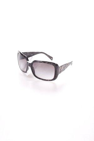 Chanel eckige Sonnenbrille schwarz-silberfarben Blumenmuster klassischer Stil