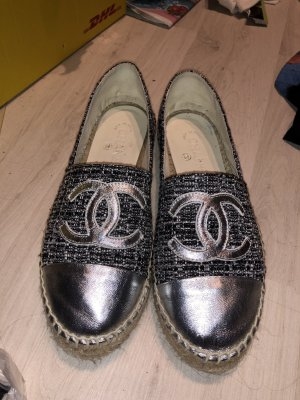 Chanel Espadrilles CC Silber Tweed