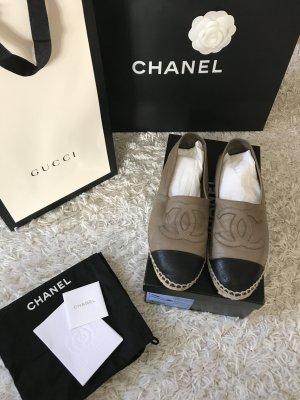 Chanel Espadrilles Leder Mules Slipper Schuhe Sandalen Slip on Leather Bast