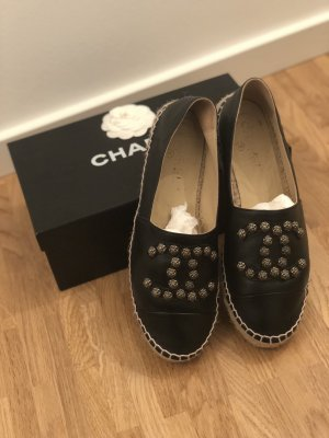 Chanel Espadrilles Leder schwarz Gr. 39
