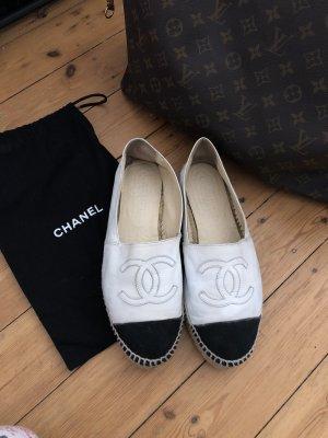 Chanel Espadrilles Leder Weiß Schwarz Creme Mules Slipper Schuhe Top
