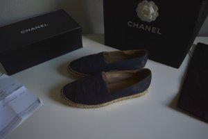 Chanel Ballerina's met bandjes zwart-donkerblauw Leer