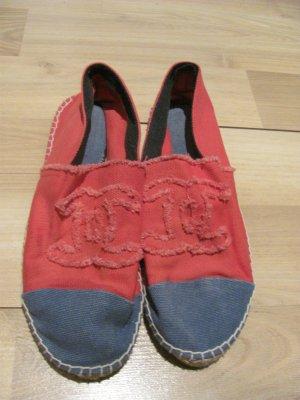 Chanel Espas Espadrilles Leinen Schuhe Flats Canvas Blau Rot Monogram Logo CC 41