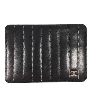 Chanel Clutch zwart-zilver Leer