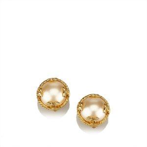 Chanel Faux Pearl Clip On Earrings