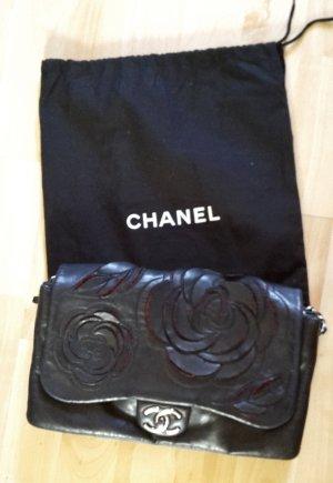 Chanel Gekruiste tas zwart-baksteenrood Leer