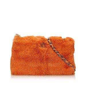 Chanel Borsa a tracolla arancione Pelliccia