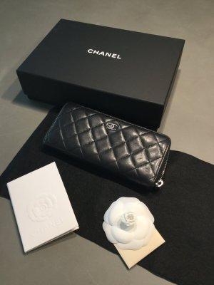 Chanel Portemonnee zwart-roodbruin Leer