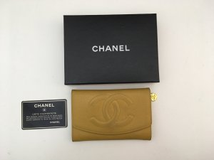 Chanel Portefeuille ocre cuir