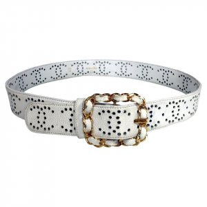 Chanel Leather Belt white-gold-colored leather