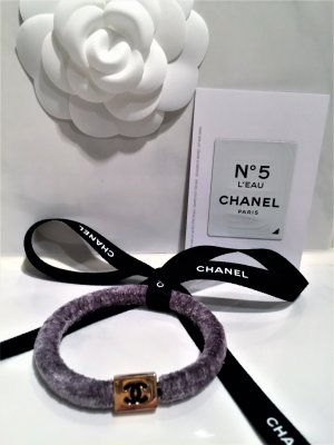 Chanel Haargummi,Haarschmuck Neu Farbe Grau/Gold