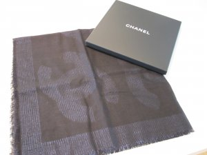 Chanel Fazzoletto da collo nero-blu scuro Lana