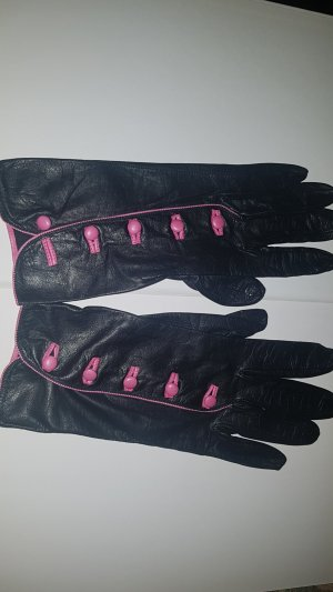 Chanel Gant à doigts noir-rose cuir