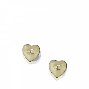 Chanel Heart CC Push Back Earrings