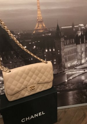 Chanel Jumbo Classic Double Flap Caviar in Beige/ Gold