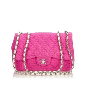 Chanel Borsa a tracolla rosa pallido Cotone