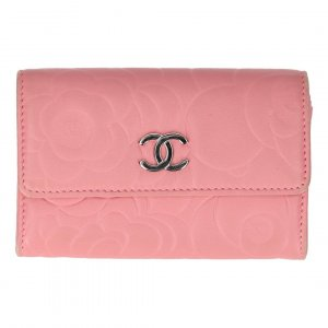 Chanel Wallet pink-silver-colored leather