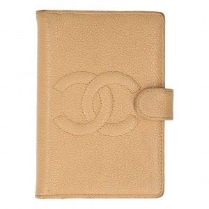 Chanel Writing Case beige leather