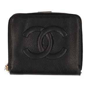 Chanel kleine Brieftasche aus strukturiertem Kalbsleder in den Farben Schwarz und Gold Geldbörse, Portemonnaie