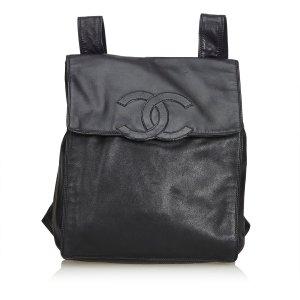 Chanel Sac à dos noir cuir