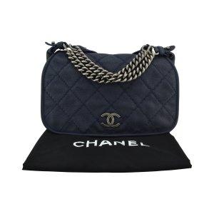 Chanel Bolsa de hombro azul oscuro Cuero