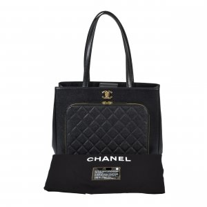 Chanel Large Shopper Leder Handtasche Schwarz @mylovelyboutique.com