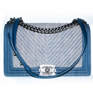 Chanel Le Boy Medium Denim Blau Handtasche Tasche