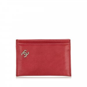 Chanel Card Case red leather