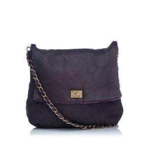 Chanel Shoulder Bag purple leather
