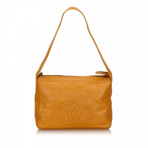 Chanel Sac porté épaule orange cuir
