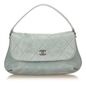 Chanel Schoudertas lichtblauw Leer