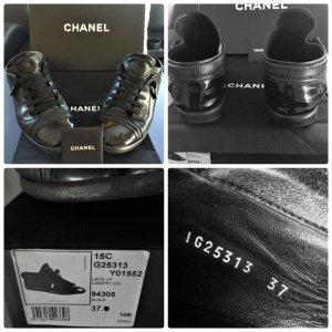 Chanel Leder Lackleder Sneakers Gr.36,5/37 mit Karton Np.699€
