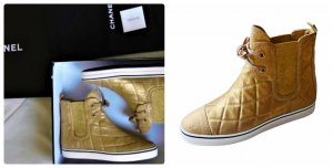 Chanel  Leder Sneakers Gr.37,5 Farbe .Gold/Bronz