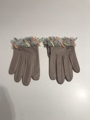 Chanel Leather Gloves light grey leather