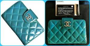 Chanel Matelasse  Geldbörse Wallet Lackleder Türkisblau mit OVP +Id.Karte