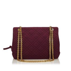 Chanel Sac porté épaule bordeau laine