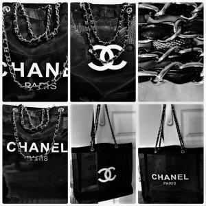 Chanel Maxi Mesh Vip-GiftTasche/Shopper mit Silber-Kette Griff 35/45cm Neu  OVP