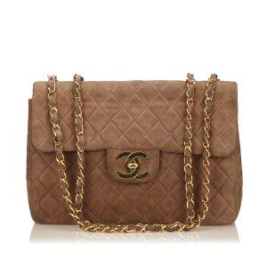 Chanel Bolsa de hombro marrón Gamuza