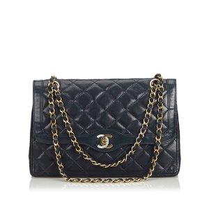 Chanel Borsa a tracolla blu Pelle