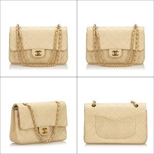 Chanel Schoudertas beige Leer