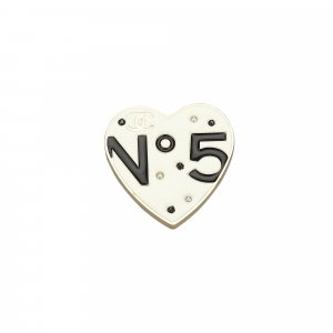 Chanel Metal No 5 Heart Brooch