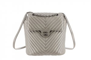 Chanel Backpack silver-colored leather